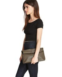 Forever 21 - Gray Faux Leather Roll-Top Clutch - Lyst