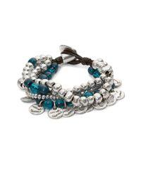 Uno De 50 Blue Bead And Charm Layered Bracelet