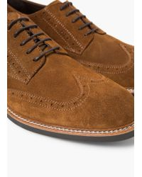 Mango - Brown Brogueing-detail Suede Blucher for Men - Lyst