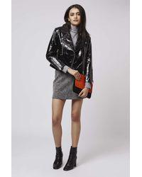 TOPSHOP - Black Patent Leather Biker Jacket - Lyst