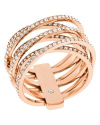 Michael Kors | Pink Clear Crystal Criss Cross Ring | Lyst