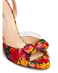 Charlotte Olympia Multicolor 'Sue' Floral Print Crepe De Chine Sandals