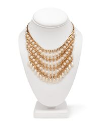 Forever 21 - Metallic Faux Pearl Bib Necklace - Lyst
