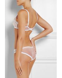 Agent Provocateur White Petunia Embroidered Tulle Briefs