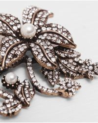 Zara | Metallic Shiny Flower Brooch | Lyst