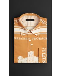 Burberry Orange Book Cover Print Cotton Silk Shirt for men