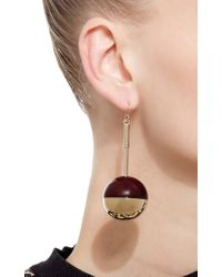 Marni | Red And Gold Metal Globe Earrings | Lyst
