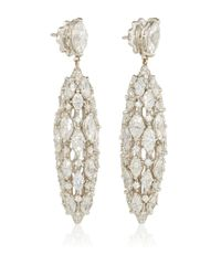 Sidney Garber | Metallic 18k White Gold And Diamond Torchere Earrings | Lyst