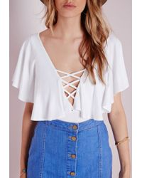 Missguided - Lattice Front Flute Sleeve Bodysuit White - Lyst