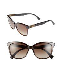 b06d28f536e Lyst - Fendi 55mm Retro Sunglasses - Havana  Black in Brown