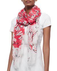 Oscar de la Renta - Red Floral-Print Modal/Cashmere Scarf - Lyst