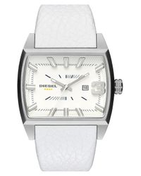 DIESEL - Metallic 'starship' Rectangular Leather Strap Watch for Men - Lyst