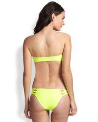 Mikoh Swimwear Yellow Cutout Knotdetail Bandeau Bikini Top