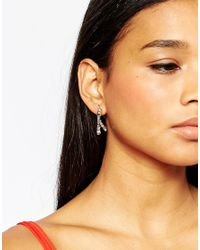 Lipsy - Metallic Crystal Ear Cuffs With Drop Detail - Lyst