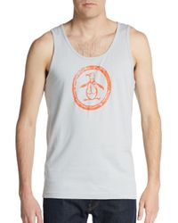 Original Penguin | Gray Penguin Circle Logo Graphic Tank for Men | Lyst