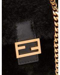 Fendi | Black Micro Baguette Shearling Cross-body Bag | Lyst