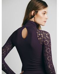 Free People | Gray Womens Rib And Lace Turtleneck | Lyst