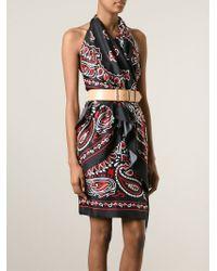 Moschino Red Paisley Halter Dress