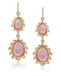 Carolee - Pink Golden Trellis Goldtone Cherry Quartz Drop Earrings - Lyst