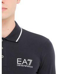EA7 - Blue Train Core Cotton Long Sleeve Polo Shirt for Men - Lyst