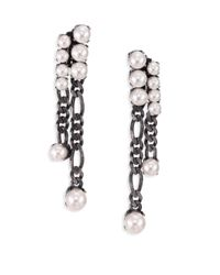 Lanvin | Gray Faux Pearl Chain Tassel Earrings | Lyst