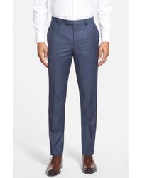 HUGO - Blue 'heibo' Flat Front Wool Blend Trousers for Men - Lyst