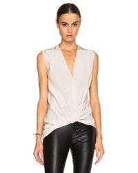 Lanvin White Cross Drape V Neck Silk Blouse