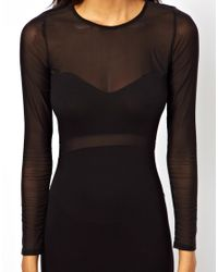 ASOS Purple Mesh Cut Out Long Sleeve Midi Dress