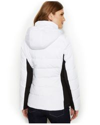 Calvin Klein White Stand-Collar Quilted Puffer Coat