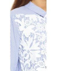 Endless Rose Blue Lace Placket Button Down Shirt