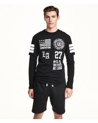 H&M Black Long-Sleeved T-Shirt for men
