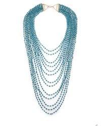 Iam By Ileana Makri Blue Turquoise Bead Draped Multi-strand Necklace