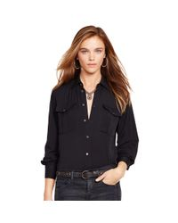 Polo Ralph Lauren | Black Relaxed Twill Shirt | Lyst