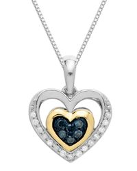 Lord & Taylor | Sterling Silver With 14k Yellow Gold Green Diamond And Diamond Heart Pendant | Lyst