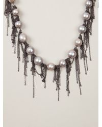 Samira 13 | Gray Fringe Pearl Necklace | Lyst