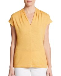Lafayette 148 New York - Yellow Linen Cap-sleeve Tee - Lyst