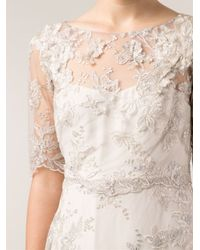 Notte by Marchesa Metallic Embroidered Lace Gown