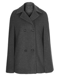 TOPSHOP Gray Double-Breasted Wool Cape