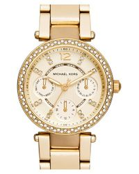 MICHAEL Michael Kors | Metallic Michael Kors 'mini Parker' Multifunction Bracelet Watch | Lyst