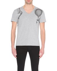 Alexander McQueen | Gray Shoulder Print V-neck Cotton T-shirt for Men | Lyst