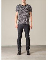 Saint Laurent Black Leopard Print Tshirt for men
