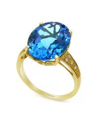 Effy | 14k Yellow Gold Blue Topaz And Diamond Ring | Lyst