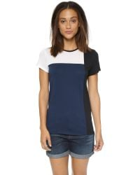 Vince - Blue Tricolorblock Tee - Lyst