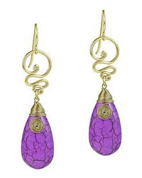 Aeravida | Cute Purple Howlite Teardrop Brass Swirl Earrings | Lyst