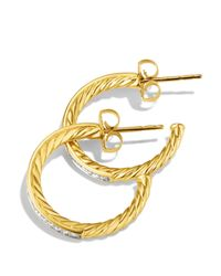 David Yurman - Yellow Sculpted Cable Medium Hoop Earrings With Diamonds In Gold - Lyst