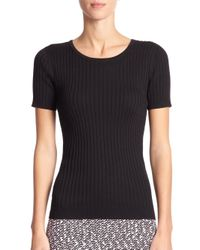 St. John - Black Rib-Knit Short-Sleeve Shell - Lyst