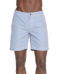 Onia | Blue 'calder' Spanish Gingham Swim Trunks for Men | Lyst