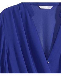 H&M Blue Draped Wraparound Blouse