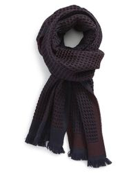 Canali Blue Waffle Knit Wool Scarf for men