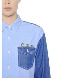 Steve J & Yoni P - Blue Embroidered Minions Cotton Denim Shirt - Lyst